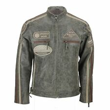 Mens Real Leather Desert Biker Jacket Vintage Urban Retro Look Size S - 6XL