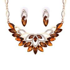 Fashion Wedding Gold Plated Gemstone Crystal Earrings Necklace Jewelry Sets Hot