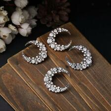 Fashion Women Hip Hop Punk Moon Shape Alloy Crystal Ear Studs Earrings Jewelry