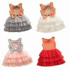 Girl Kids Baby Sequined Bow Pageant Party Wedding Tutu Cake Princess Dress