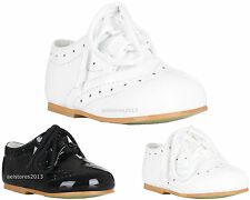 Shoes Boys Wedding Formal Black Smart Lace Up Christening Size Party Kids 1-8 Y