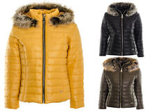 Women's Faux Fur Collar Puffer Quilted Ladies Padded Warm Winter Coat Jacket