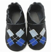 Black Argyle Diamonds Soft Sole Leather Baby Shoes New 0 - 12 Months Brand New