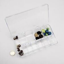 11-Compartment Acrylic Storage Box with Lid, Jewellery Bead Button Craft Tray