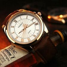 Dial Date Stainless Steel Leather Band Quartz Analog Wrist Watches