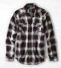 NEW MENS M  AMERICAN EAGLE BLACK PLAID WESTERN COWBOY SHIRT PEARL SNAPS NWT