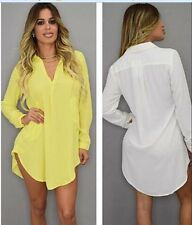 Women Casual Long Sleeve Blouse Chiffon T Shirt V-Neck Oversize Loose  Top