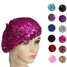 Ladies Girls French 70s Costume Party Dance Disco Sequins Shiny Hat Beret Beanie