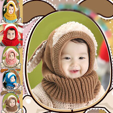 New Earflap Knitted Cap Cute Baby Toddler Girls Boys Hood Scarf Warm Hat Winter