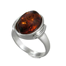 Schmuck-Michel Ladies Ring Sterling Silver 925 Amber 0 5/8x0 3/8in Size 50-65