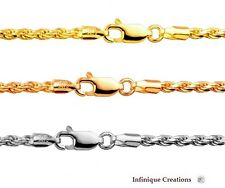 14k Gold Over 925 Sterling Silver Italian ROPE CHAIN Diamond Cut  necklace 4.0mm