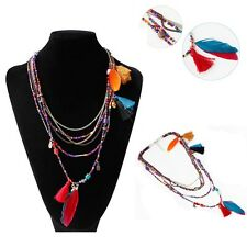 Long  Ethnic Stylish Multilayer Necklace Beads Chain Tassel Feather Pendant