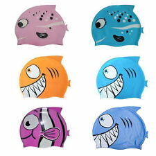 Cute Silicone Kids Children Swimming Cap Hat Fish Print Swimming Cap Swim Hats