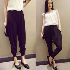 Womens Fashion Chiffon Harem Casual Elastic Waist Trousers Loose Long Pants