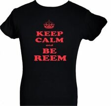 ONLY WAY IS ESSEX~KEEP CALM & BE REEM ~ BLACK T-SHIRT with RED DENIM SIZE S-XXL