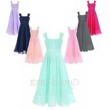 Flower Girls Dress-Chiffon Suspenders Formal Wedding Long Dress Prom Maxi 4-14