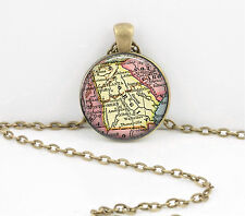 Georgia Vintage Map Pendant Necklace Jewelry or Key Ring
