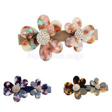 Large Acrylic Crystal Flower French Barrette Hairclip Hair Clip Riser Accessory