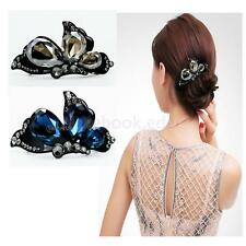 Elegant Chic Women Bow Hair Clip Barrette Hairpin Crystal Rhinestone Headwear