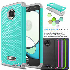 New Slim Rugged Rubber Hybrid Defender Case Cover for Motorola Moto Z Play Droid