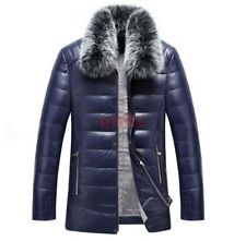 Winter Men Synthetic Collar Leather Down Coats Warm Trench Jacket Overcoat N-8
