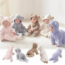 Newborn Baby Boys Girls Hooded Romper Jumpsuit Bodysuit Winter Outfits Clothes