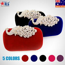 5 Colors New Peacock Womens Wedding Party Clutch Handbag Shoulder Evening Bag