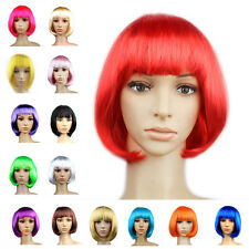 Women Girl Bob Short Straight Hair Full Wig Cosplay Anime Party Fancy Dress Prop