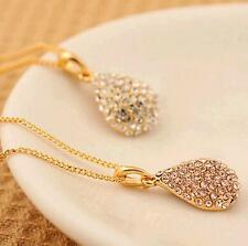1Pcs Necklace Women Shiny Plated Silver Plated  Gold Pendant Crystal Teardrop