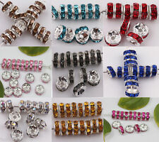 Wholesale 50/100pcs 8mm Czech Crystal Rhinestone Silver Rondelle Spacer Beads
