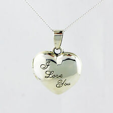 925 STERLING SILVER PHOTO LOCKET I LOVE YOU ENGRAVED HEART PENDANT & CURB CHAIN