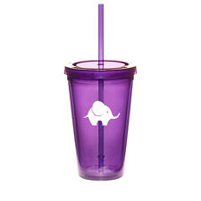 16oz Double Wall Acrylic Tumbler Pool Beach Cup With Straw Baby Elephant