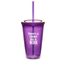 16oz Double Wall Acrylic Tumbler Cup With Straw There's a chance this is wine