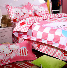 Pink Kitty Single Double Queen Size Bed Set Pillowcases Quilt Duvet Cover L