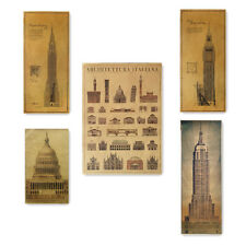 Famous Building Big Ben Structure Drawing Vintage Poster Cafe Art Wall Decor G17