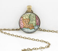 Louisiana Vintage Map Pendant Necklace Jewelry or Key Ring
