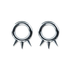 Pair of Steel Seamless Segment Rings w/Spikes 10 Thru 6 Gauge