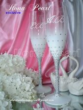 Swarovski Crystal Personalized Champagne Glasses Flutes Brilliant Silver Wedding
