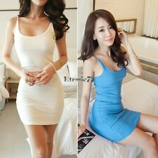 Women Long Tank Top Camisole Vest Strapless Sleeveless Slim Fit Mini Dress EA77