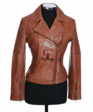 Ladies ERICA Tan Waxed New Biker Style Fashion Real Lamsbkin Leather Jacket