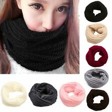 Long Winter Shawl Neck Cowl Collar Infinity Circle Cable Knitting Wool Scarf