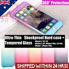 360° Hybrid SHOCKPROOF Hard Case Full Body Cover F iPhone 7 6s 5 +TEMPERED GLASS