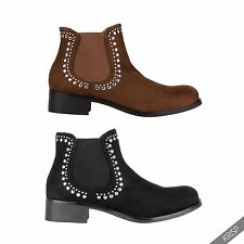 Women Low Heel Studded Chelsea Pull On Suede Ankle Boots Ladies Western Cowboy
