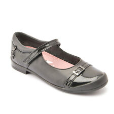 Start-rite Purrfect Black Leather Girls Riptape School Shoes