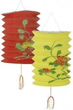 2 CHINESE PAPER LANTERNS Red and Yellow Oriental Party Hanging Decorations 50476
