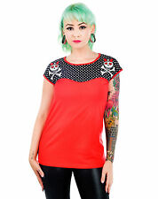 Rockabilly Lolita Girly Skull and Crossbones Polka Dot Two Tone Red Top
