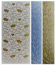 VALENTINES HEARTS Peel Off Stickers Outline Hearts Romance Love Gold or Silver