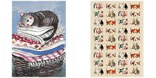 CUTE, QUIRKY AND FUN CAT TEA TOWELS BY ALEX CLARK, 100% COTTON, COOKING, BAKING