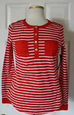 $50 NWT Womens Tommy Hilfiger Long Sleeve Red Striped Patch Pocket Henley Shirt