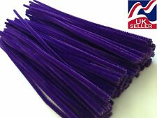"10 - 100 x PURPLE chenille craft stems pipe cleaners 30cm (12"") long, 6mm wide"